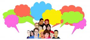 Colorful image of a diverse group of people with speech bubbles over their heads. Accessed on Pixabay_1825513_1920