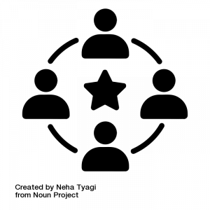 This is a decorative black and white symbol with a star at the center and four rotating heads around it. This is meant to symbolize different roles we take on in various contexts.