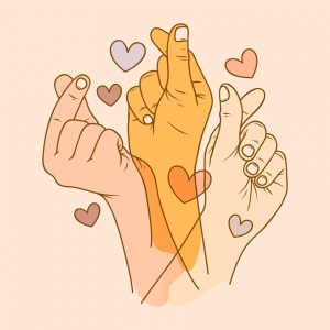 Multiple hands holding up a symbol for love while surrounded by cartoon hearts.