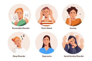 Cartoon imaes of different people showing emotions such as anxiety, panic attacks, sleeping disorders, and personality disorders.