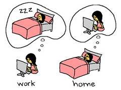 Girl thinking of home while at work, and thinking of work while at home.