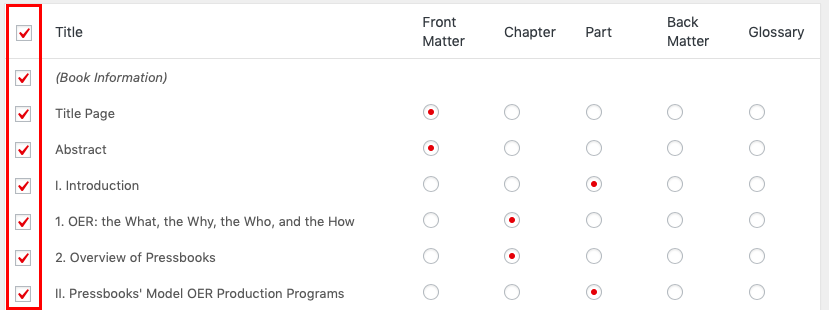 The checkboxes on the left side of the import table