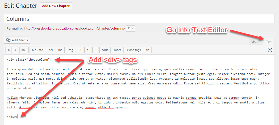 Tagged columns in Text Editor