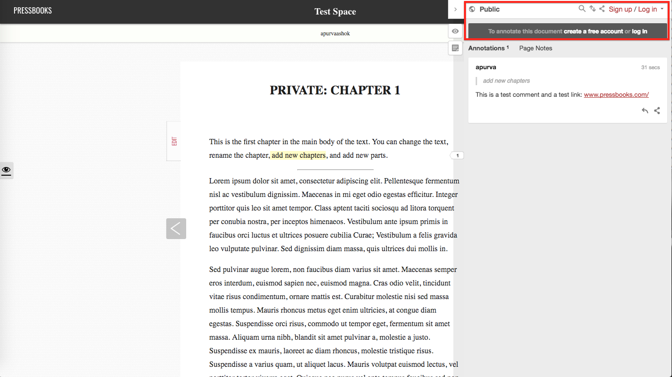 An example of a webbook with Hypothesis enabled.
