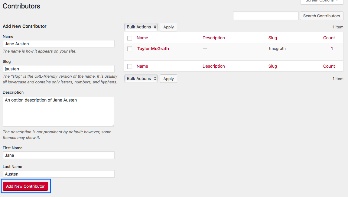 Fill in contributor details and click Add New Contributor