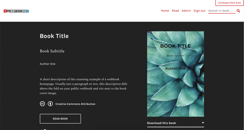 The webbook homepage, with cover and title displaying