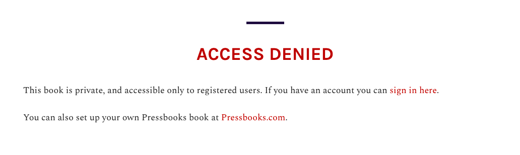 Access Denied statement on a private webbook