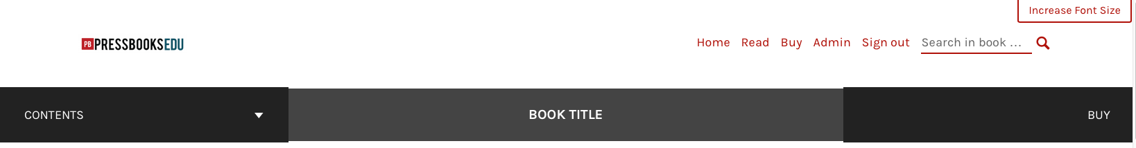 Header of the webbook interface
