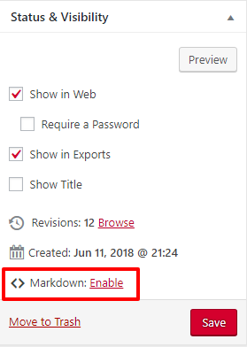 Enable markdown at the bottom of the Status & Visibility menu in the chapter editor interface.