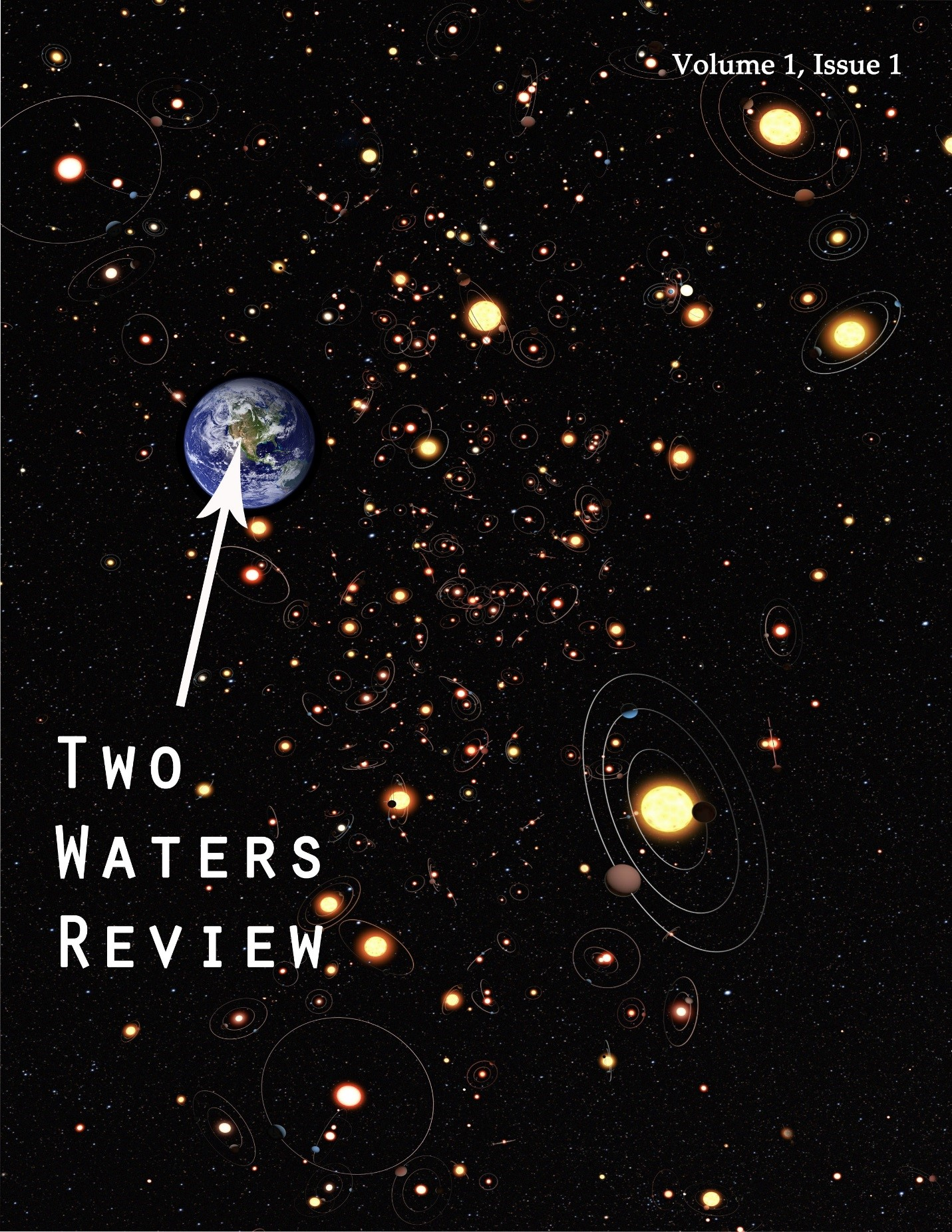"""Two Waters Review cover image of Earth against a starry sky and an arrow pointing to earth with the words """"Two Waters Review"""""""