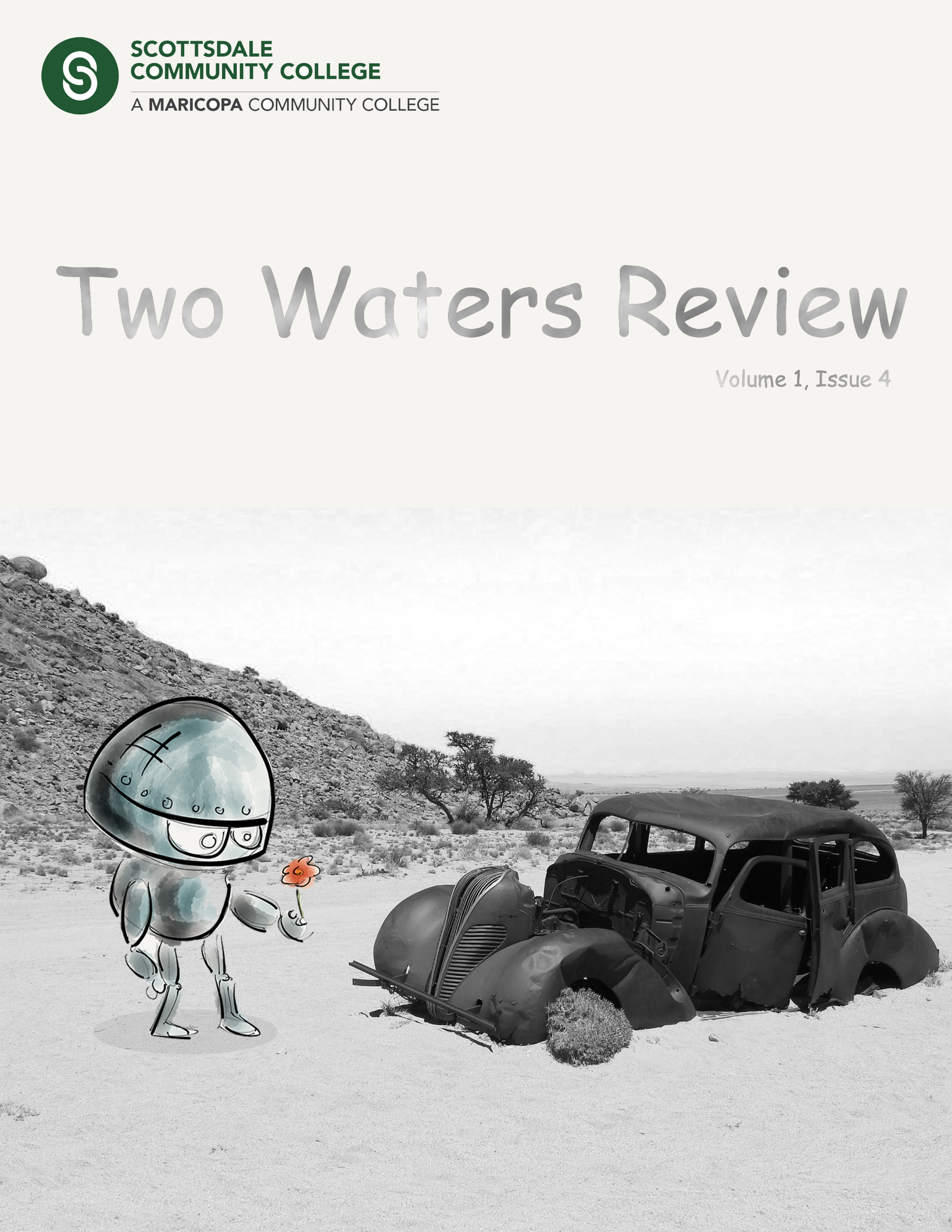 Two Waters Review 1.4 cover image of an illustrated robot offering a flower to a busted car in the desert.