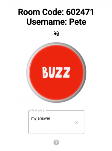 Cosmobuzz provides a clickable buzzer and a text entry field for answers.
