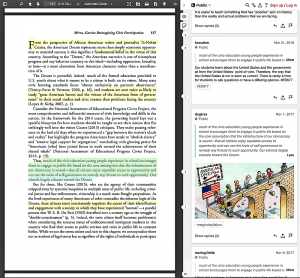 Page of a textbook highlighted and annotated with Hypothes.is