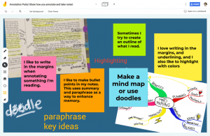 A collaborative whiteboard (Jamboard) with text annotation, drawings, images, and colorful sticky notes.