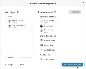 screenshot of Webex Meetings breakout session assignments panel