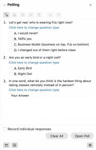 screenshot of the Polls panel in Webex Meetings